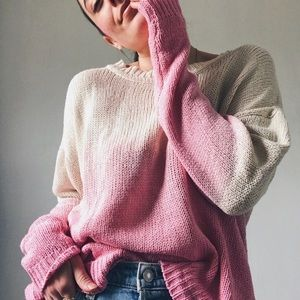 PINK & CREAM OMBRE LONG SLEEVE KNIT SWEATER